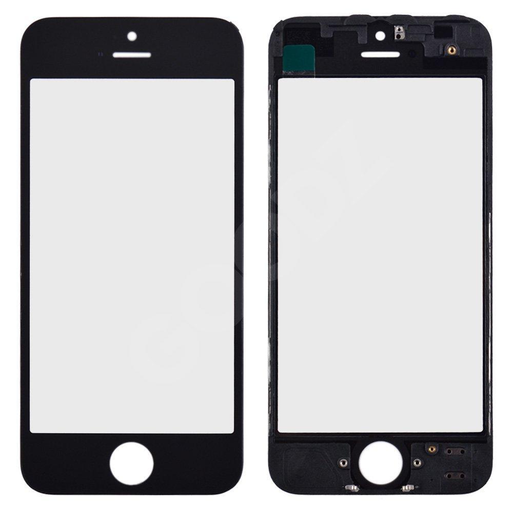 Стекло корпуса с рамкой и ОСА пленкой для iPhone 5, цвет черный