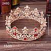 Корона и серьги набор АЗАРИКА круглая корона на голову красно - зеленые камни Украшения для волос, фото 6