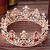 Корона и серьги набор АЗАРИКА круглая корона на голову красно - зеленые камни Украшения для волос, фото 5