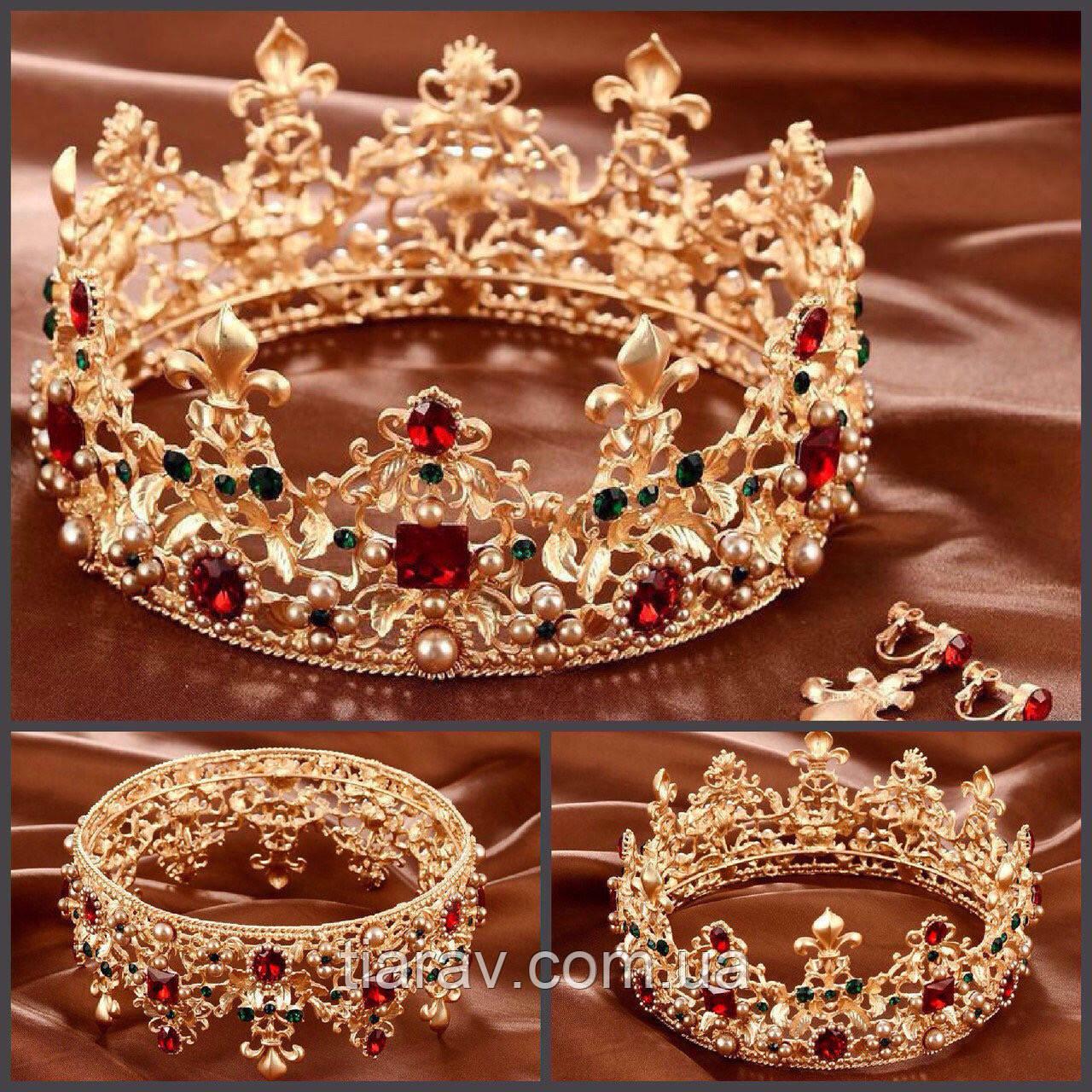 Корона и серьги набор АЗАРИКА круглая корона на голову красно - зеленые камни Украшения для волос