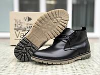Мужские зимние ботинки (натуральная кожа, мех) черные 41