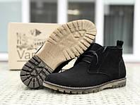Мужские зимние ботинки (натуральный замш, мех) черные 41