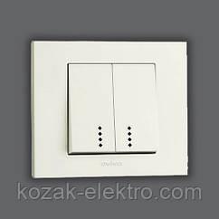 GRANO Выключатель 2 клавишный с подсветкой цвет белый