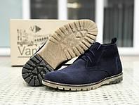 Мужские зимние ботинки (натуральный замш, мех) синие 41
