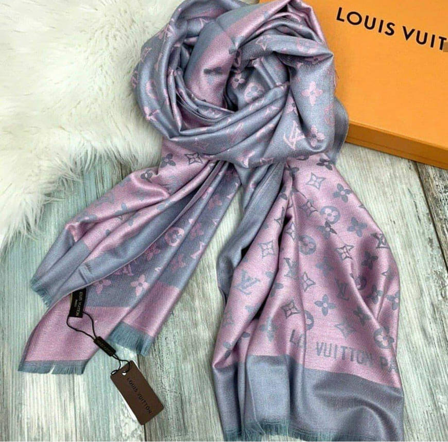Палантин Louis Vuitton пудрово-серый, фото 2