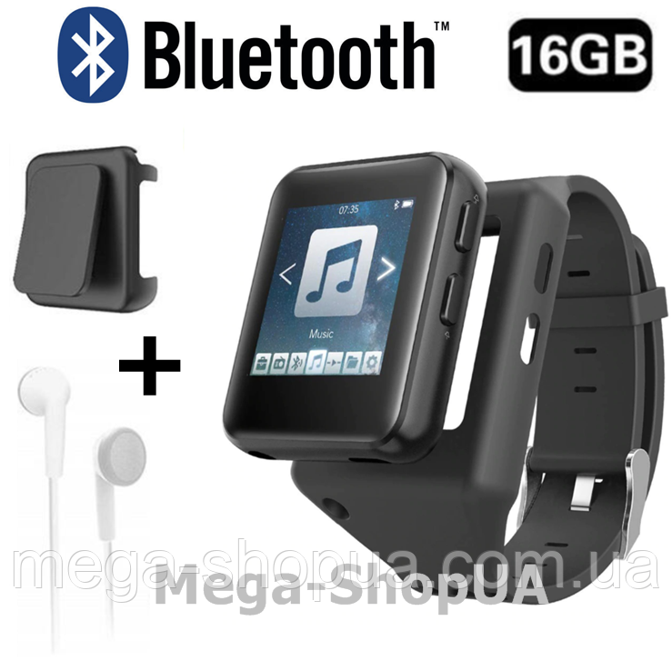 MP3/MP4 плеер часы 16GB Bluetooth адаптер для наушников + клипса + наушники / MP3 плеер Sport Player Benjiе