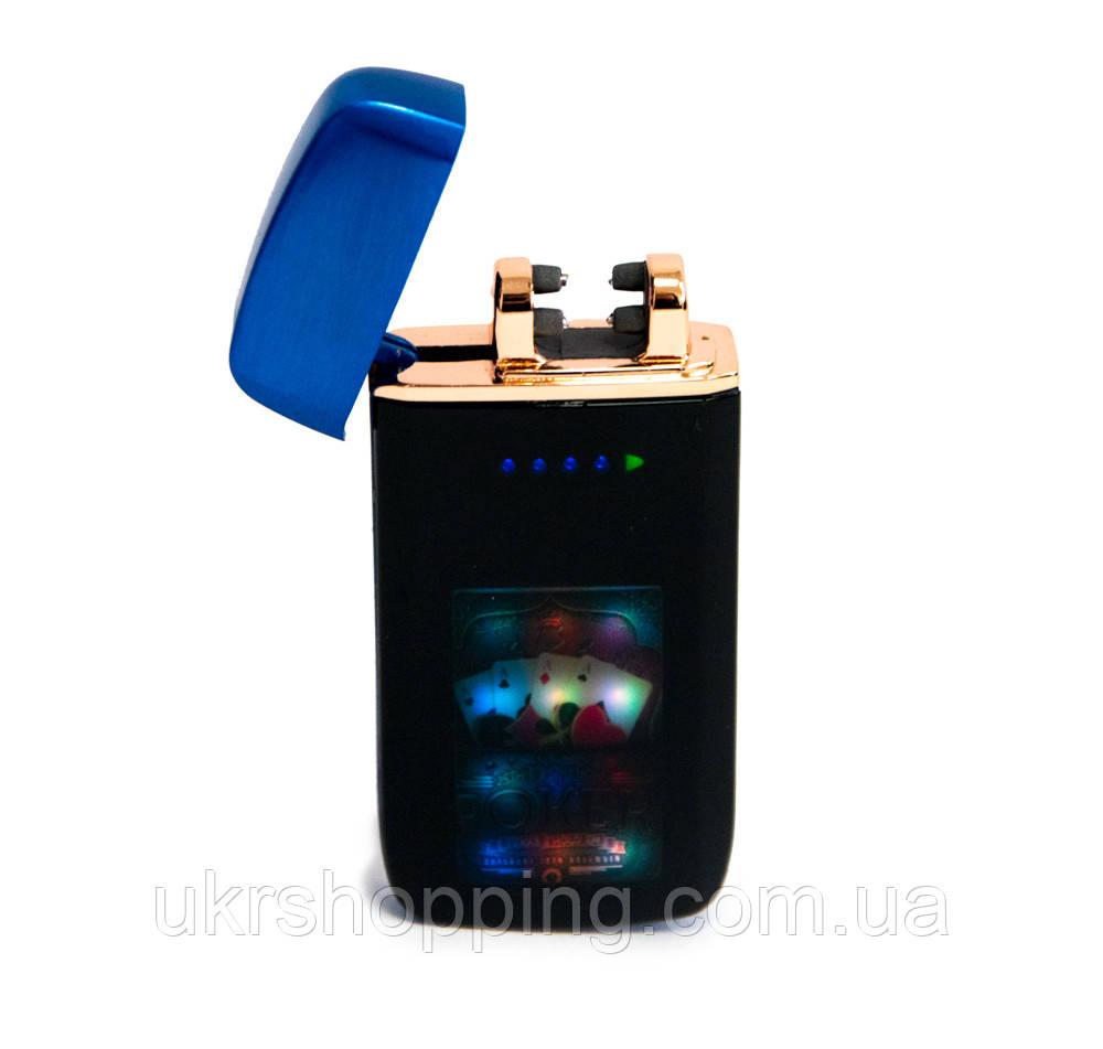 """Зажигалка с двумя молниями Lighter ZGP 70 """"Покер"""", импульсная сенсорная зажигалка с юсб на подарунок"""