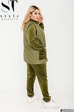 Костюм женский прогулочный спортивный велюровый тройка размеры 48-62, фото 2