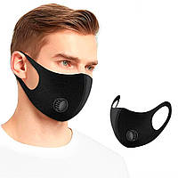 Черная защитная медицинская маска упаковка 12 шт. тканевая с клапаном Fashion Mask (медична маска)  (TI)