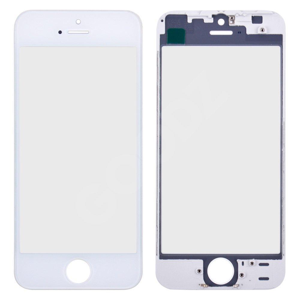 Стекло корпуса с рамкой и ОСА пленкой для iPhone 5S, цвет белый