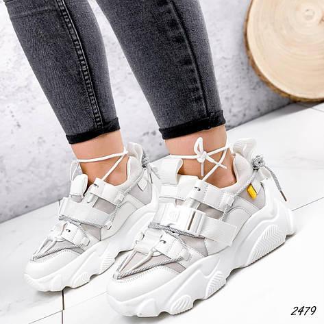 Кросівки жіночі білі, зимові з еко шкіри. Кросівки жіночі теплі білі з еко шкіри, фото 2