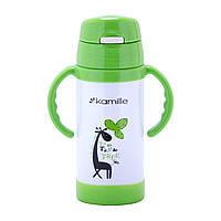 Термобутылка детская Kamille Зеленый 350мл из нержавеющей стали KM-2085
