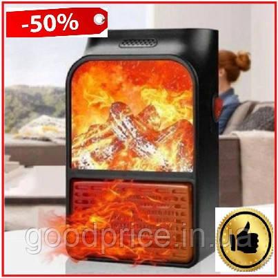 Обогреватель электрический портативный Flame Heater с пультом 1000 Вт, мини электрический камин с LCD дисплеем