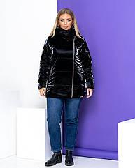 Куртка жіноча зимова батал NOBILITAS 50 - 56 чорна плащівка (арт. 20052)