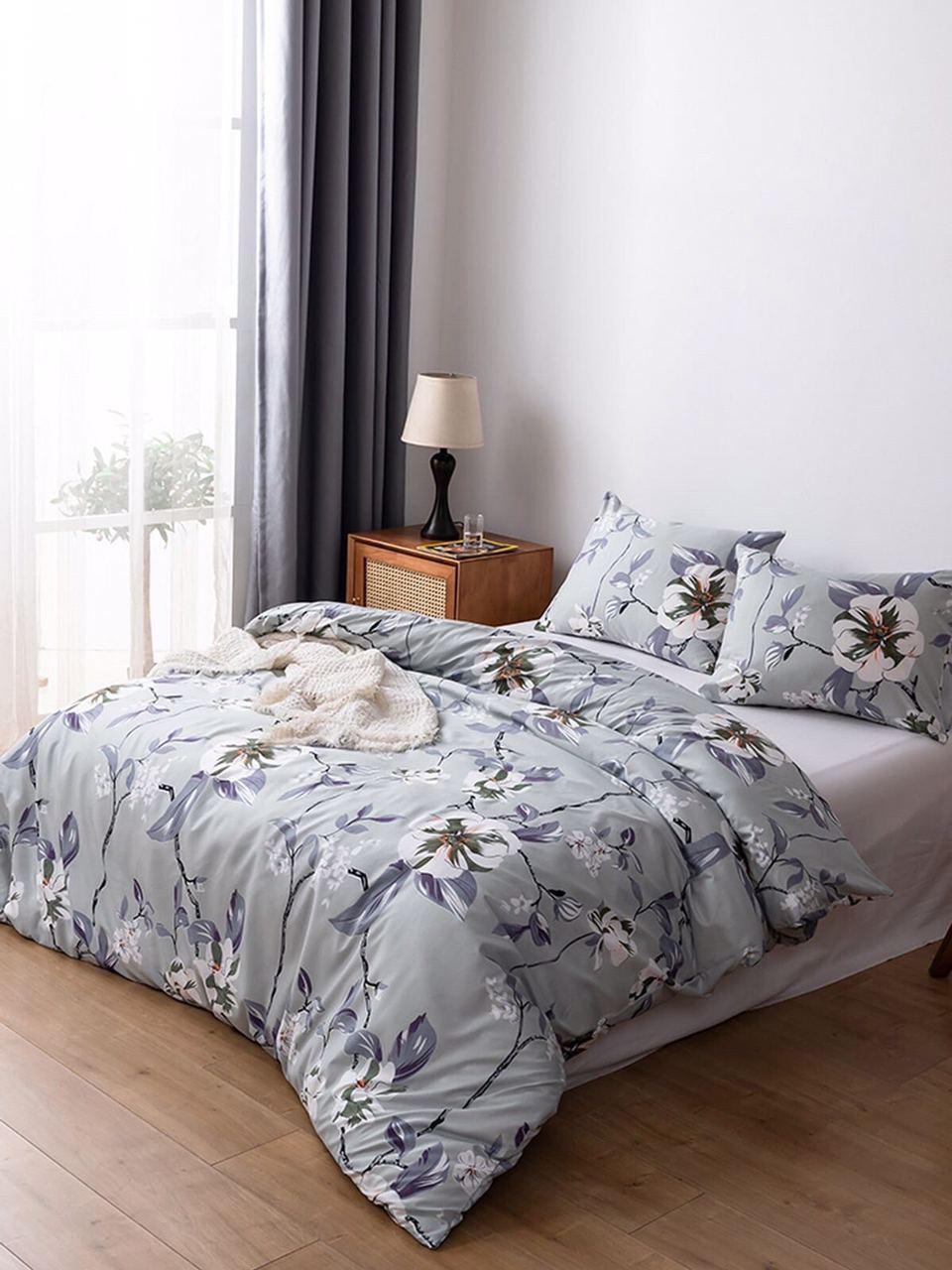 Качественное постельное белье с цветами, полуторка