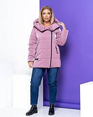 Куртка жіноча зимова батал NOBILITAS 50 - 56 пудра плащівка (арт. 20052)