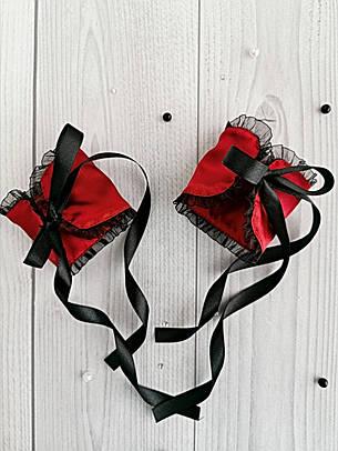 Атласные наручники БДСМ аксессуар для ролевых игр Бордовые, фото 2