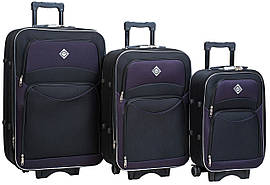 Набір валіз на колесах Bonro Style Чорно-темно-фіолетовий 3 штуки