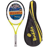 Ракетка для великого тенісу новачкам або любителям доросла чорна BOSHIKA POWER (СПО 620)