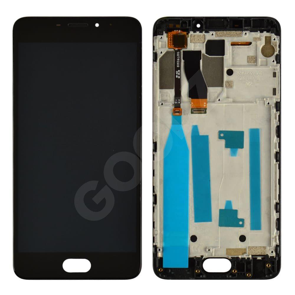Дисплей для Meizu M5 Note с тачскрином и рамкой в сборе, цвет черный, оригинал