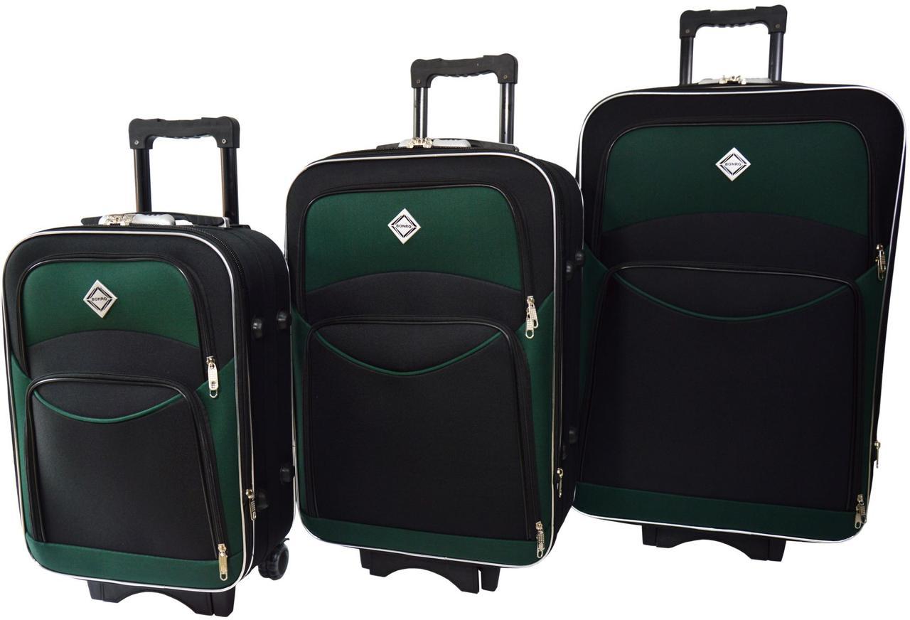 Набор чемоданов на колесах Bonro Style Черно-зеленый 3 штуки
