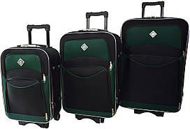 Набір валіз на колесах Bonro Style Чорно-зелений 3 штуки