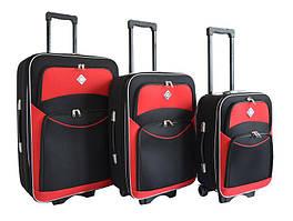 Набір валіз на колесах Bonro Style Чорно-червоний 3 штуки