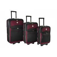 Набір валіз на колесах Bonro Style Чорно-вишневий 3 штуки