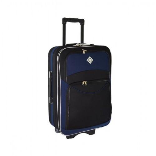 Дорожный чемодан на колесах Bonro Style Черно-темно-синий Средний