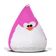 Кресло груша пингвин 60х90 кресло-мешок, кресло пуфик в форме пингвина розовый
