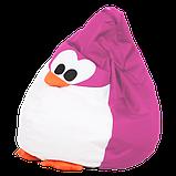 Кресло груша пингвин 60х90 кресло-мешок, кресло пуфик в форме пингвина розовый, фото 2