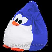 Кресло груша пингвин 60х90 кресло-мешок, кресло пуфик в форме пингвина синий