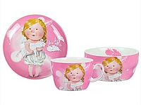"""Набор посуды для детей (3 предмета), фарфоровый, розовый """"Love you more"""" Gapchinska"""