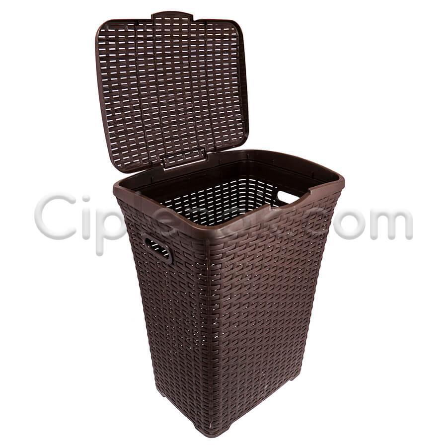 Пластиковая корзина для белья под ротанг на 50 л (коричневая)