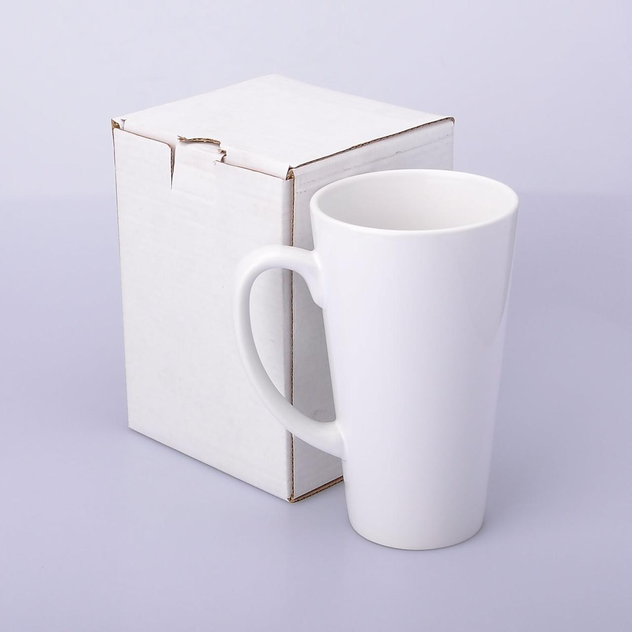 Упаковка белая из картона для чашек Latte высоких и стаканов