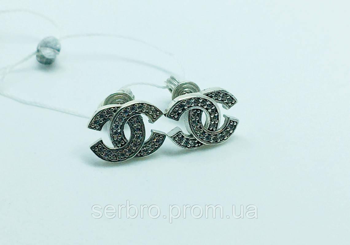 Срібні сережки втулки з цирконом Шанель