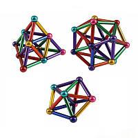 Игрушка головоломка Магнитный конструктор типа Neo в боксе 36 магнитных палочки и 26 шариков