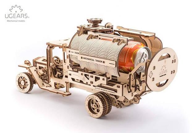 """Грузовик """"Автоцистерна"""" UGears (594 детали) - механический деревянный 3D пазл конструктор, фото 2"""