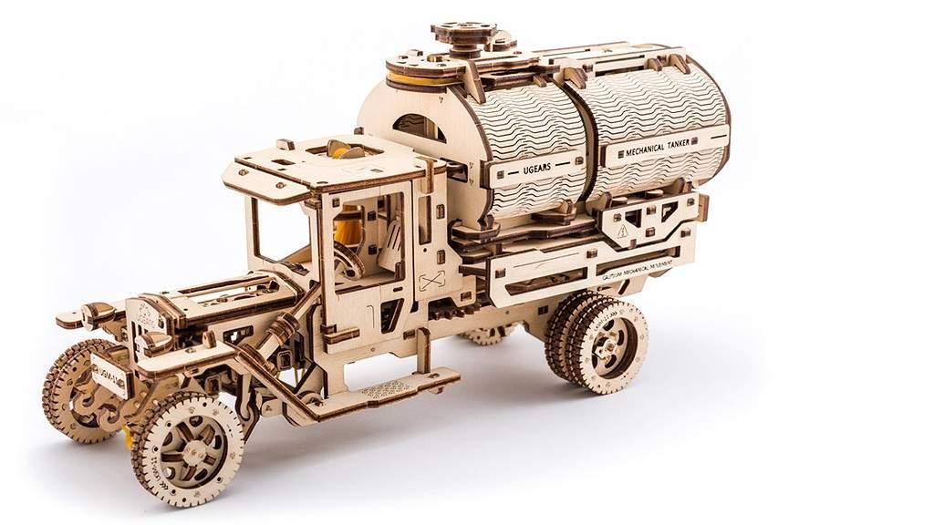 """Грузовик """"Автоцистерна"""" UGears (594 детали) - механический деревянный 3D пазл конструктор"""