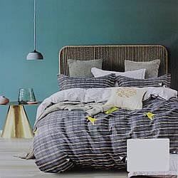 Комплект постельного белья сатин серый Полоска Koloco Двуспальний 180х220см