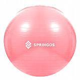 Мяч для фитнеса (фитбол) Springos 75 см Anti-Burst FB0012 Pink, фото 5
