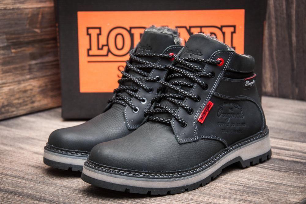 Мужские  зимние кожаные ботинки Wrangler Arizona Black  (реплика)