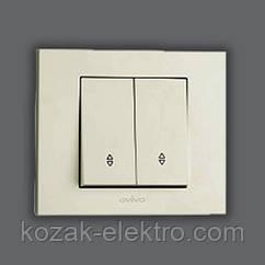 GRANO Выключатель проходной 2 клавишный цвет белый