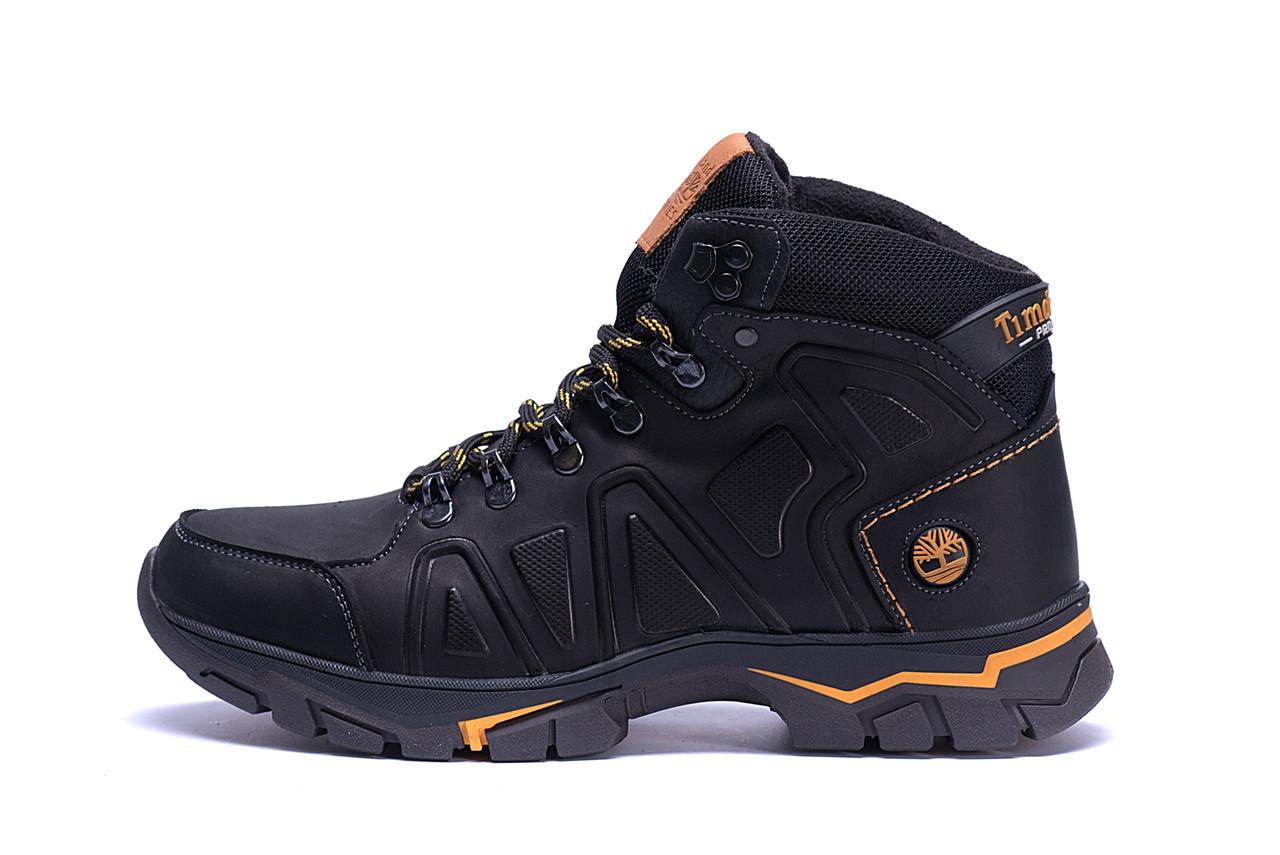 Мужские зимние кожаные ботинки Timderland  Black  (реплика)