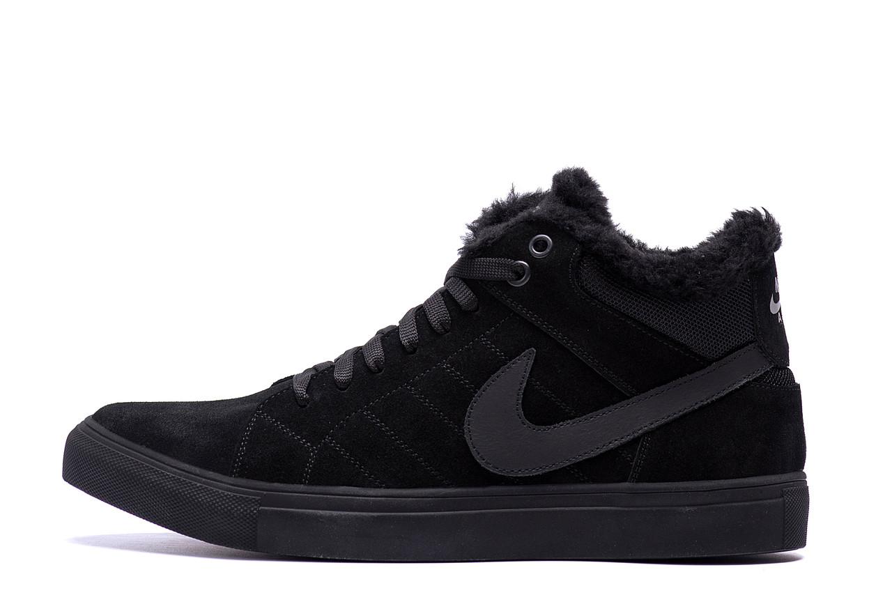 Мужские зимние кожаные ботинки Nike Black  (реплика)