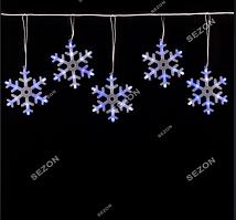 Гирлянди штора-сніжинки  20см, 6шт 3м, синьо-білий