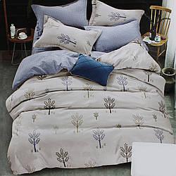 Комплект постельного белья сатин бежевый Клетка Koloco Двуспальний 180х220см