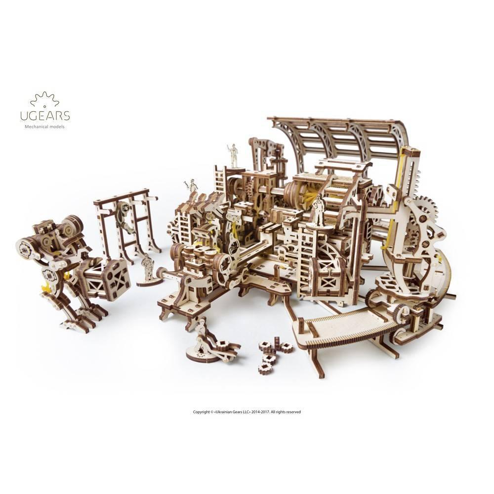 Фабрика роботів UGears (598 деталей) - механічний дерев'яний 3D пазл конструктор