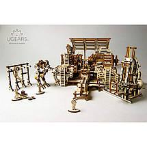 Фабрика роботів UGears (598 деталей) - механічний дерев'яний 3D пазл конструктор, фото 3
