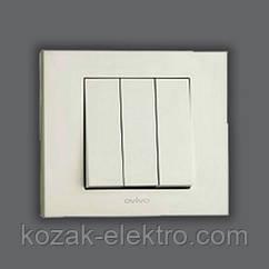 GRANO Выключатель 3 клавишный цвет белый